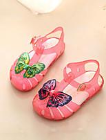 Девочки Сандалии Обувь для малышей Полиуретан Весна Осень Повседневные Обувь для малышей На липучках На плоской подошве Белый КрасныйНа