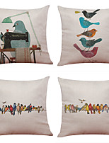 Set of 4 Vintage Sewing Bird Pattern  Linen Pillowcase Sofa Home Decor Cushion Cover(18*18)