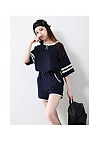 Women's Casual/Daily Street chic Hoodie Pant Suits,Solid Round Neck Short Sleeve Micro-elastic