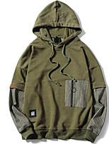 Sweat à capuche Homme Décontracté / Quotidien Couleur Pleine Micro-élastique Coton Manches longues Printemps