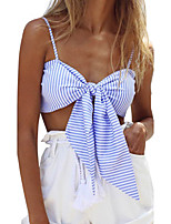 Women's Casual/Daily Club Sexy Street chic Bow Backless Slim Bare Midriff Spring Summer Tank TopStriped Strap Sleeveless Medium