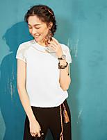 Tee-shirt Femme,Couleur Pleine Décontracté simple Eté Manches Courtes Col Arrondi Mélange de Coton Fin