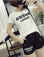 Feminino Japonesa/Curta Calça Conjuntos Casual Esportivo Activo Verão,Cor Única Decote Redondo Manga Curta