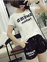 Damen einfarbig Aktiv Lässig/Alltäglich Sport T-Shirt-Ärmel Hose Anzüge,Rundhalsausschnitt Sommer Kurzarm