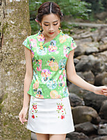Women's Going out Casual/Daily Simple Cute T-shirt Skirt Suits,Solid Print Round Neck Short Sleeve Micro-elastic