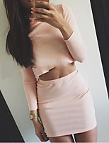 Women's Casual/Daily Simple T-shirt Skirt Suits,Solid Round Neck Long Sleeve Micro-elastic