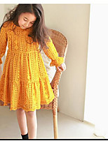 Girl's Solid Color Dress,Cotton Polyester Summer Spring Fall Long Sleeve