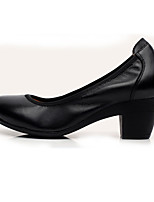 Women's Heels Formal Shoes Leather Spring Fall Office & Career Formal Shoes Chunky Heel Almond Coffee Black 5in & over