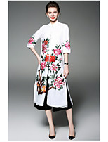 OYCP Women's Daily Loose Sheath DressFlower/Floral Stand Midi  Length Sleeve Polyester Summer High Rise Micro-elastic Thin