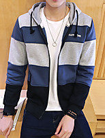 Men's Athletic Daily Casual Hoodie Striped Hooded Micro-elastic Cotton Long Sleeve Spring Fall