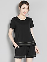Women's Going out Casual/Daily Club Sexy Cute T-shirt Pant SuitsSolid Round Neck Half Sleeve