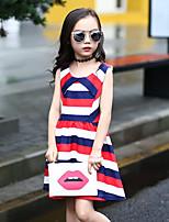 Девичий Платье Полиэстер В полоску Лето С короткими рукавами