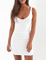 Women's Going out Party Club Sexy Street chic Bodycon Sheath Dress,Solid Strap Mini Sleeveless Cotton Polyester Summer Mid Rise Stretchy