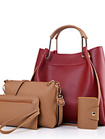 Women Bag Sets Other Leather Type All Seasons Casual Shell Ruffles Zipper Brown Ruby Black Blue