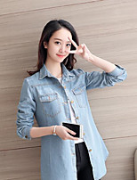 Women's Casual/Daily Simple Spring Denim Jacket,Solid Shirt Collar Long Cotton