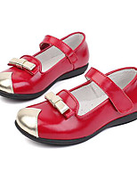 Girls' Flats First Walkers Cowhide Spring Fall Daily Walking Magic Tape Low Heel Ruby Flat