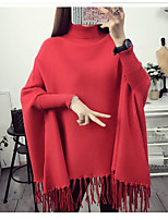Women's Casual/Daily Simple Long Cardigan,Solid Round Neck Long Sleeve Cotton Spring Winter Medium Micro-elastic