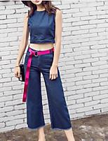 Manches Ajustées Pantalon Costumes Femme,Couleur Pleine Décontracté / Quotidien simple Eté Sans Manches Col Arrondi