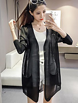 Women's Casual/Daily Street chic Long Cardigan,Solid Notched Long Sleeve Cotton Summer Thin Inelastic