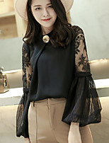 Women's Going out Sexy Blouse,Solid Round Neck Long Sleeve Others