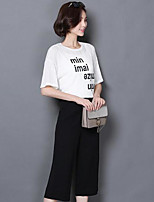 Women's Going out Casual/Daily Sports Vintage Cute Street chic T-shirt Pant Suits,Solid Letter Round Neck Half Sleeve