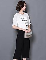 Damen einfarbig Buchstabe Vintage Niedlich Street Schick Ausgehen Lässig/Alltäglich Sport T-Shirt-Ärmel Hose Anzüge Sommer Herbst