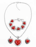 Jewelry Set Vintage Alloy Heart 1 Necklace 1 Pair of Earrings 1 Bracelet For Women Wedding Party Special Occasion Halloween Daily Casual 1 Set