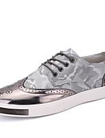 Da uomo Sneakers Pelle Primavera Nero Grigio Marrone chiaro Piatto