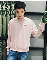 Men's Casual/Daily Sweatshirt Solid Round Neck Micro-elastic Cotton Long Sleeve Spring