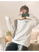 Women's Casual/Daily Sweatshirt Letter Round Neck Micro-elastic Cotton Long Sleeve Spring