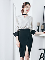 Women's Casual/Daily Simple Summer Shirt Skirt Suits,Striped V-Neck Long Sleeve Micro-elastic