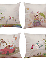 Set of 4 Illustration Couple Figure Pattern  Linen Pillowcase Sofa Home Decor Cushion Cover