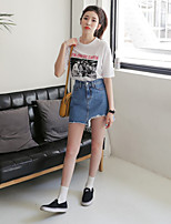 Women's Date Going out Casual/Daily Modern/Comtemporary Summer T-shirt Skirt Suits,Pattern Round Neck Half Sleeve