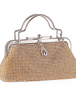 Women Evening Bag Polyester All Seasons Wedding Event/Party Formal Party & Evening Club Hobo Rhinestone Crystal Clasp LockSilver Black