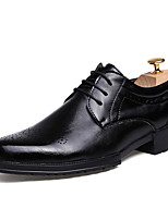 Men's Oxfords Formal Shoes PU Spring Fall Office & Career Party & Evening Formal Shoes Lace-up Flat Heel Burgundy Black 1in-1 3/4in