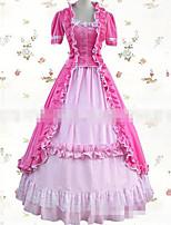 Une Pièce/Robes Princesse Cosplay Vêtrements Lolita Rose Blanc Couleur unie Ras du Sol Jupe Robe Pour Tissu Matelassé Velours