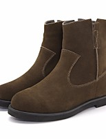 Women's Boots Comfort PU Spring Winter Casual Khaki Brown Black Flat