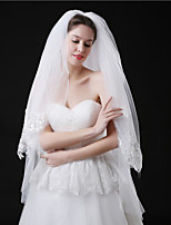 Wedding Veil Two-tier Fingertip Veils Hair Combs Lace Applique Edge Polyster