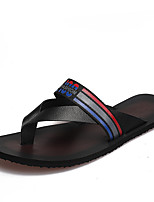 Men's Slippers & Flip-Flops Comfort Light Soles PU Summer Outdoor Casual Water Shoes Flat Heel Black/Red Black/White Flat
