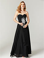 Sheath / Column Sweetheart Floor Length Chiffon Formal Evening Dress with Appliques Crystal Detailing Criss Cross Pleats by TS Couture®