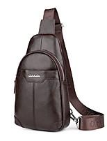 Men Sling Shoulder Bags Cowhide All Seasons Casual Office & Career Messenger Zipper Brown Black