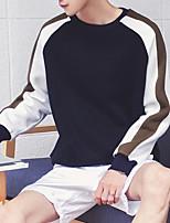 Sweatshirt Homme Quotidien Couleur Pleine Col Arrondi Micro-élastique Coton Manches longues Printemps, Août, Hiver, Eté