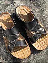 Men's Sandals Comfort Cowhide Spring Casual Black Dark Brown Flat