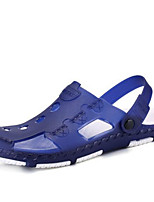 Men's Slippers & Flip-Flops Slingback PVC Summer Casual Flat Heel Blue Red Brown Flat