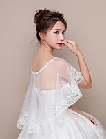 Women's Wrap Capelets Lace Tulle Wedding Party/Evening Rhinestone Appliques Flower(s) Lace