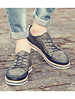 Men's Sneakers Comfort PU Spring Casual Brown Gray Black Flat