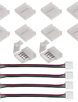 10pcs connecteur à bande 4 broches pour 5050 rgb led strip lights et 4pcs led 5050 rgb strip light connector 4 conducteurs 10 mm large