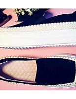 Для женщин На плокой подошве Удобная обувь Кожа Весна Повседневные Удобная обувь Черный Серый Зеленый На плоской подошве