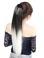 Neitsi 1Pcs 22'' 115g Striaght Wrap Around Ponytail Hair Extensions Synthetic Ombre T-White#
