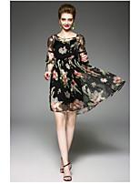 Gaine Robe Femme QuotidienFleur Col Arrondi Au dessus du genou ½ Manches Polyester Eté Taille Haute Micro-élastique Fin